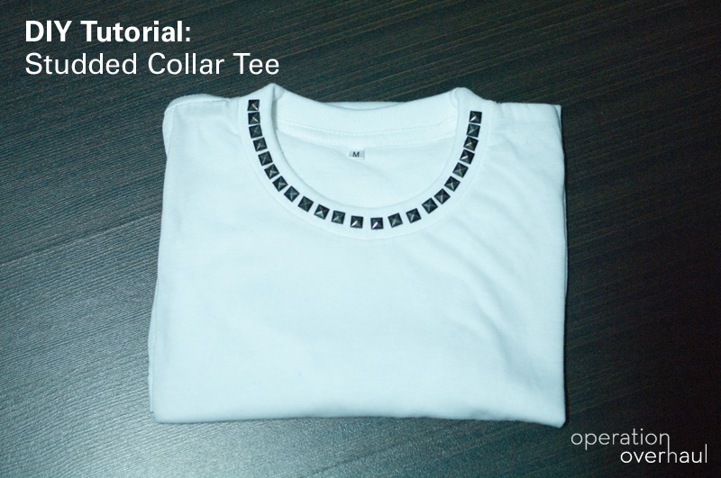 DIY Tutorial: Studded Collar Tee