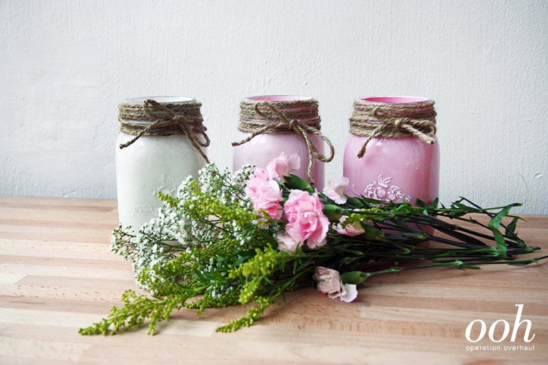 OOH - Upcycled Glass Jars Tutorial With Flowers